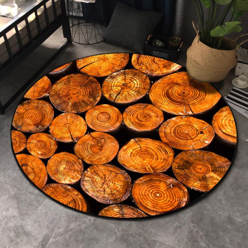 Круглый ковер в скандинавском стиле с деревянным зерном, индивидуальный креативный журнальный столик для спальни, компьютерное кресло, нескользящий коврик, домашний декор - Цвет: Orange