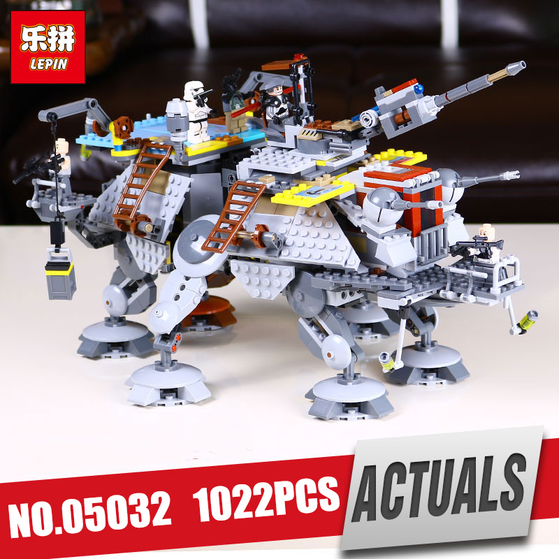 LEPIN 05032 Star Series Captain Wars model Rex's set AT to TE Educational Building Blocks Brick Toy Legoing 75157 Christmas Gift lepin 1022pcs star series wars captain rex s at te building blocks brick lepin 05032 boys toys gift compatible legoingly 75157