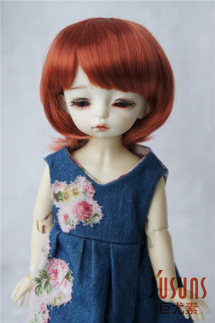 JD025 1/8 1/6 модный короткий парик BJD с челкой для размера 5-6 дюймов 6-7 дюймов кукла мягкий синтетический мохер кукла аксессуары - Цвет: 6-7inch Carrot SM130