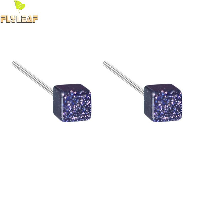 Flyleaf 100% 925 Sterling Silver Natural Blue Gravel Cube Stud Earrings For Women Prevent Allergy Lady Fashion Jewelry