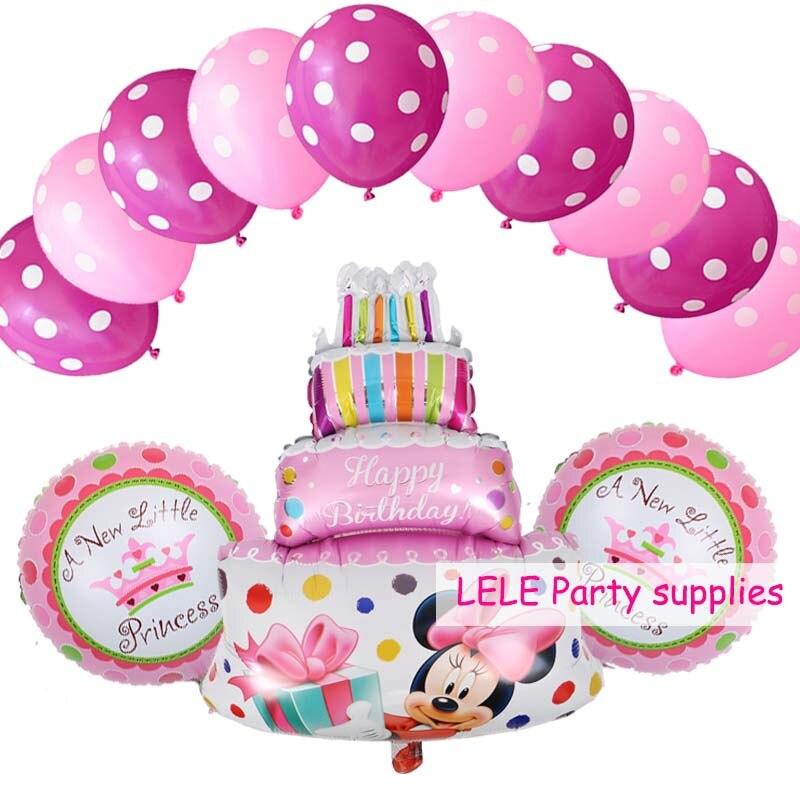 Pleasing 13 Pcs Lot Minnie Mickey Birthday Cake Foil Balloons Star Heart Personalised Birthday Cards Vishlily Jamesorg