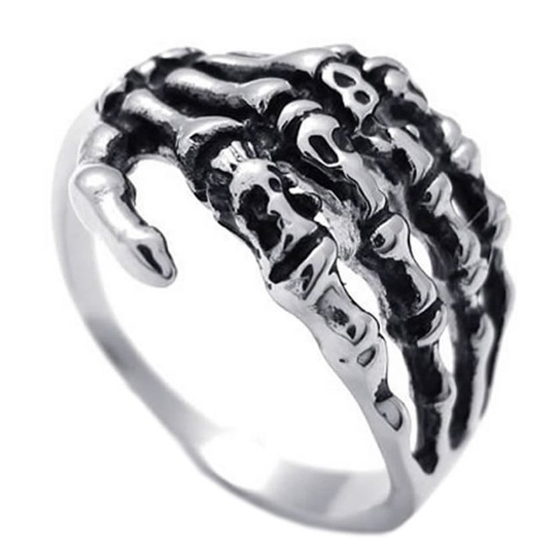 EdgLifU Pria Cincin hitam Vintage Punk Skeleton Rings Stainless steel - Perhiasan fashion - Foto 5