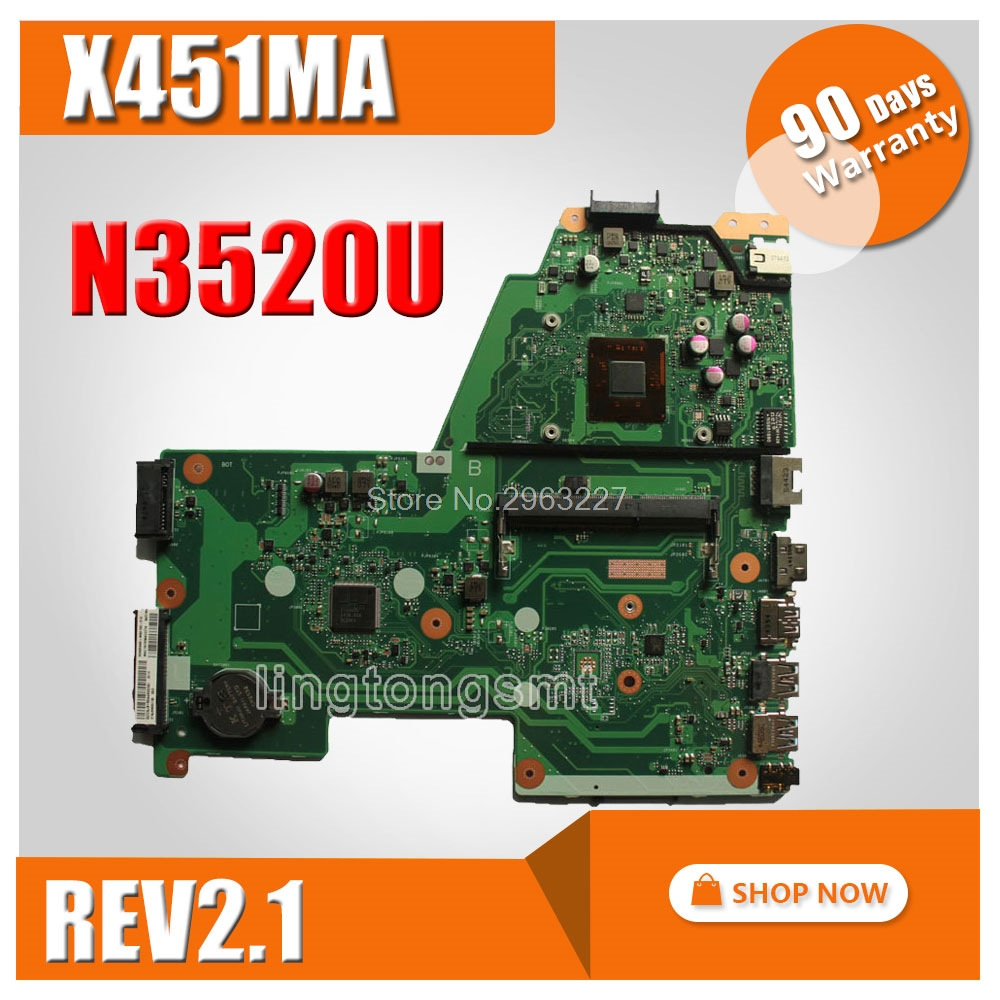 Original For ASUS X451MA Laptop motherboard X451MA Main board REV2.1 N3520CPU 100% fully tested kaypro краска для волос kay direct 100 мл