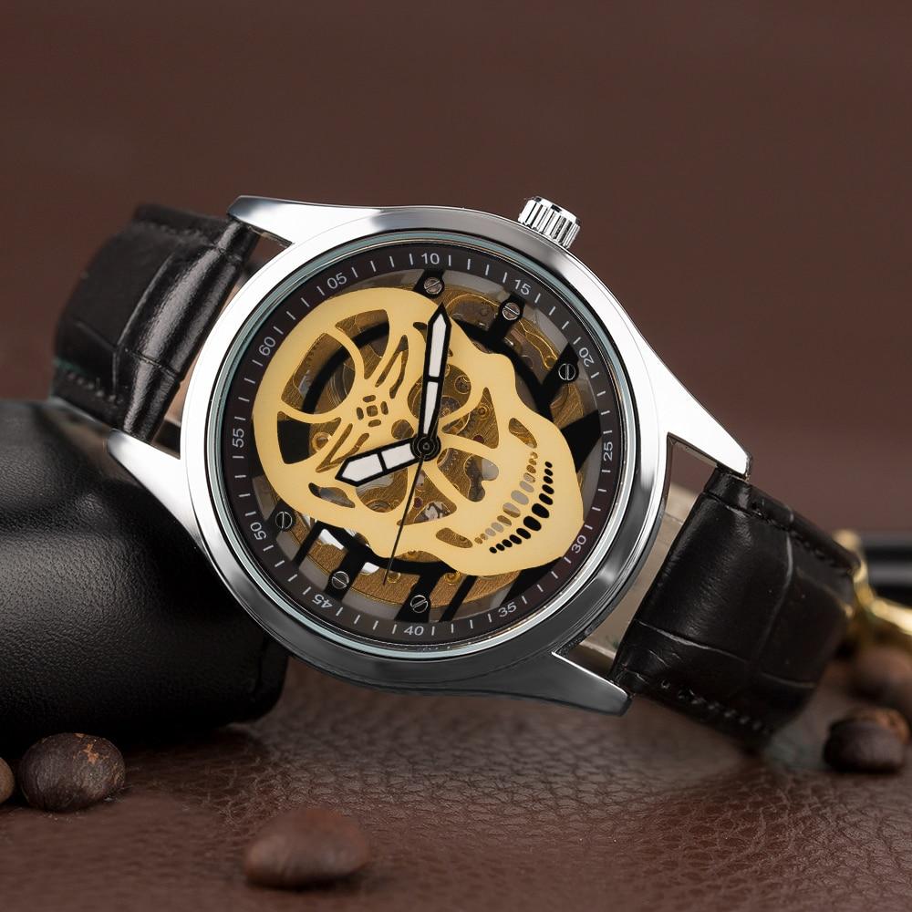 YISUYA Steampunk Esqueleto Reloj de pulsera Hombres Mano devanado - Relojes para hombres - foto 3