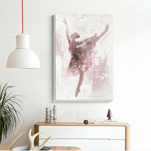 Pink Ballerina Girl Canvas Painting Nordic Wall Art Poster Picture Home Decor Children Bedroom Living Room Home Decor Poster(China)