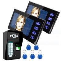 7 Wired Fingerprint Recognition Video Door Phone Intercom System 2 Monitor 1 Kit IR Night Vision
