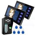 "7"" Wired Fingerprint Recognition Video Door Phone Intercom System 2 Monitor+1 Kit IR Night Vision Camera +5pcs RFID Keyfobs"