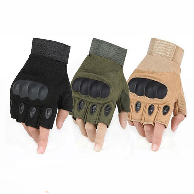 Army Military Hard Knuckle Half Finger Gloves for Tactical Combat Men Motorcycle