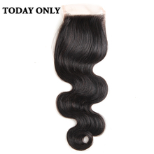 Today Only Body Wave Brazilian Human Hair Lace Closure Free Part Non-remy 4×4 Swiss Lace Natural Black Color 8-20″ Free Shipping