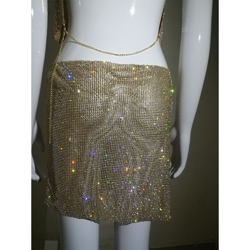 Sexy Gold Silver Metal Crystal Diamonds Summer Dress Women Backless Cut Rhinestone Glitter Night club Two Pieces Sequin Dresses in Dresses from Women 39 s Clothing