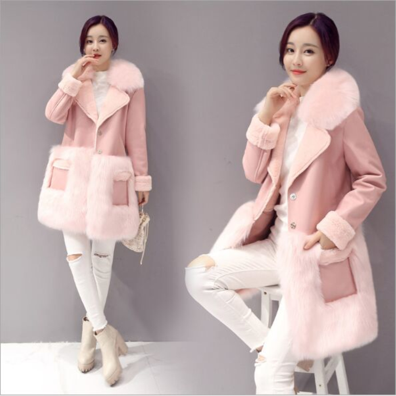 Winter New Faux Fur Coat Jackets 2019 Fashion Women Temperament Pink Overcoat Plus Size Fur PU Leather Splicing Outerwear Coats
