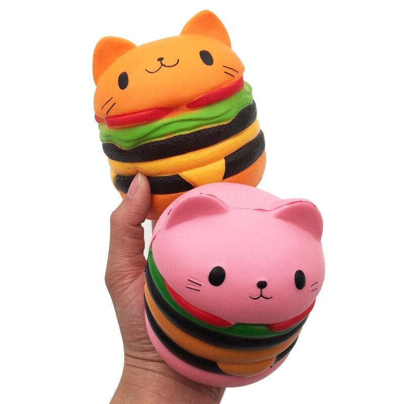 Jumbo Squishy Slow Rising Cat Hamburger Squeeze Toy
