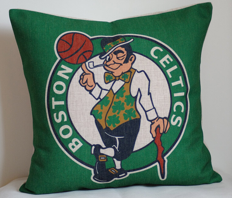 Celtics pillow cover, Creative basketball team logo Boston Celtics throw pillow cushion  ...
