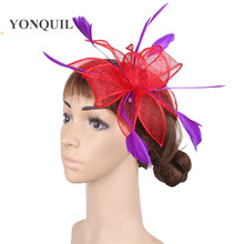 008f78ca276aa Retail hairclip sinamay red fascinator hats with purple feather hair  accessories kentucky church hats great cocktail