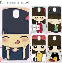 Mobile Phone Covers For Samsung Galaxy Note III 3 Note3 Cases Hard Plastic and Soft TPU Species Painted Pattern Cute Girl Cover