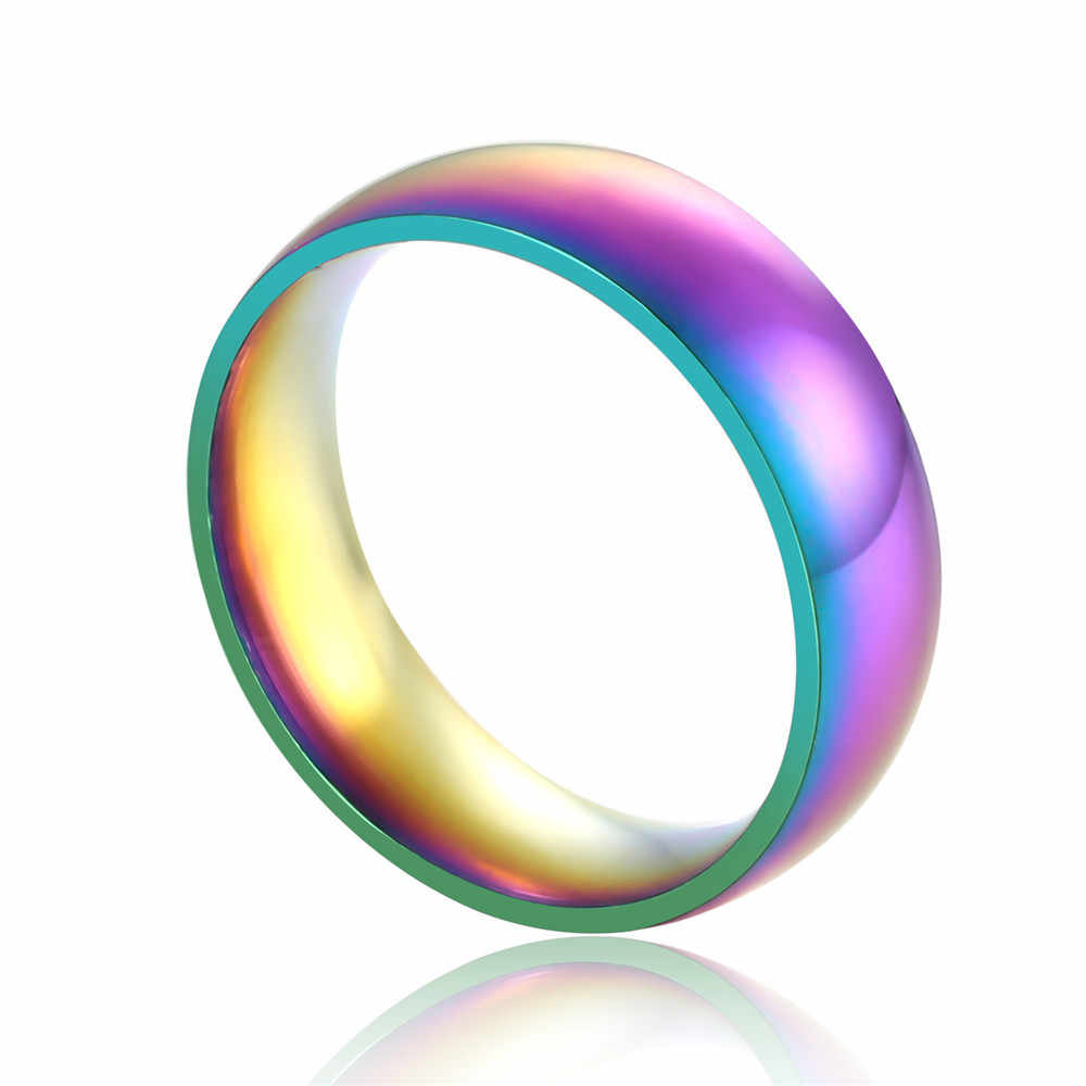 Anillos de acero inoxidable de moda 6MM colorido brillo suave anillo de Arco Iris para Mujeres Hombres regalo