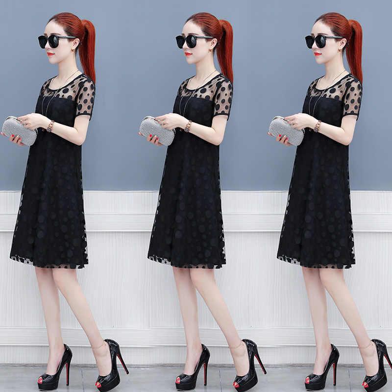 Хит 2019, женские белые кружевные платья, модное свободное платье в горошек до колена, элегантное шифоновое платье, Женская рабочая одежда NS8997