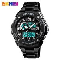 SKMEI Men Clock Watches Quartz Digital Sport Watch for Man 3 Time Waterproof Outdoor Wristwatch Top Stainless Steel Strap 1333