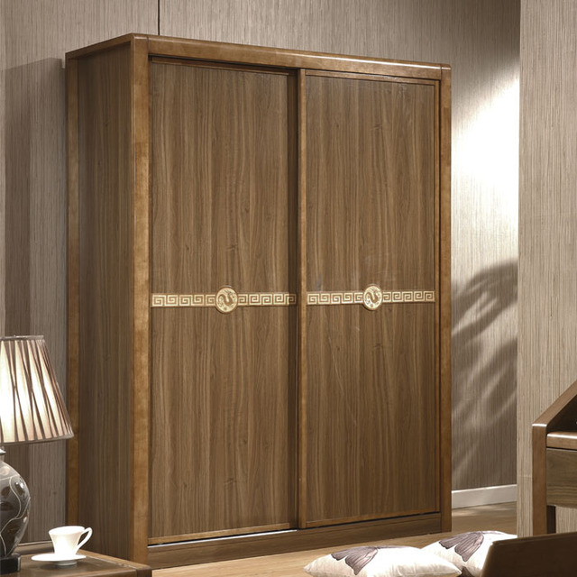 Residential Furniture Chinese Minimalist Wood Sliding Door Wardrobe