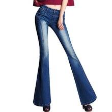 Весна Национальной Тенденции Моды Большие Расширяющиеся Джинсы Женщина До Хип Тонкий Ноги Boot Cut Джинсы Женские Клеш Брюки Джинсовые