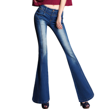 Spring National Fashion Trend Big Flared Jeans Woman Up Hip Slim Leg Boot Cut Jeans Female Bell Bottom Denim Trousers