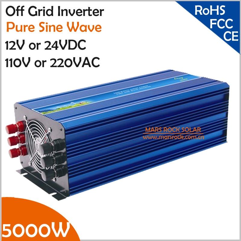 5000W Off Grid Inverter, 12V/24VDC 100/110/120VAC or 220/230/240VAC Pure Sine Wave PV Inverter for Wind or Solar Power System 2500w 12v 110vdc 100 110 120vac or 220 230 240vac pure sine wave pv inverter off grid solar