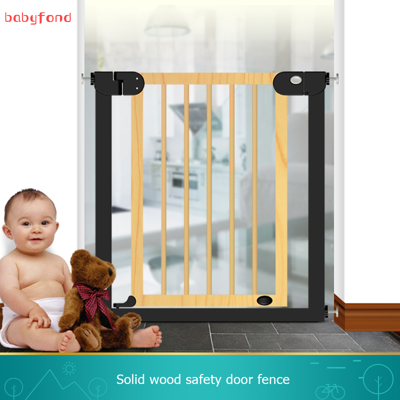 2018 Solid wood stair gate Door Stop 76-83cm Child Solid Wood Gate Baby Balcony Pet Dog Isolation