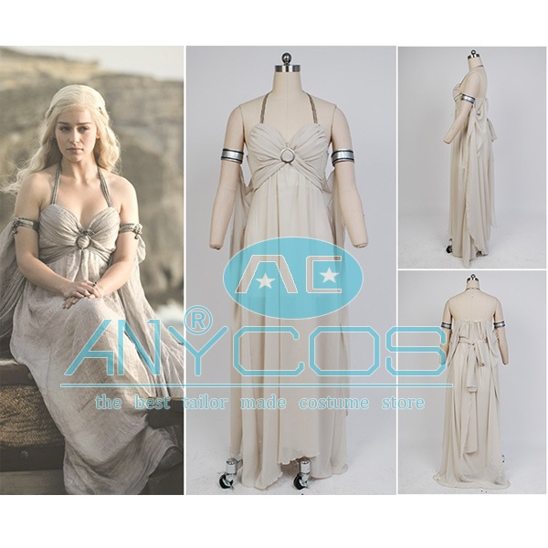 Game of Thrones Daenerys Targaryen Chiffo Dress Mother of Dragons Gown Suit Halloween Party Cosplay Costume