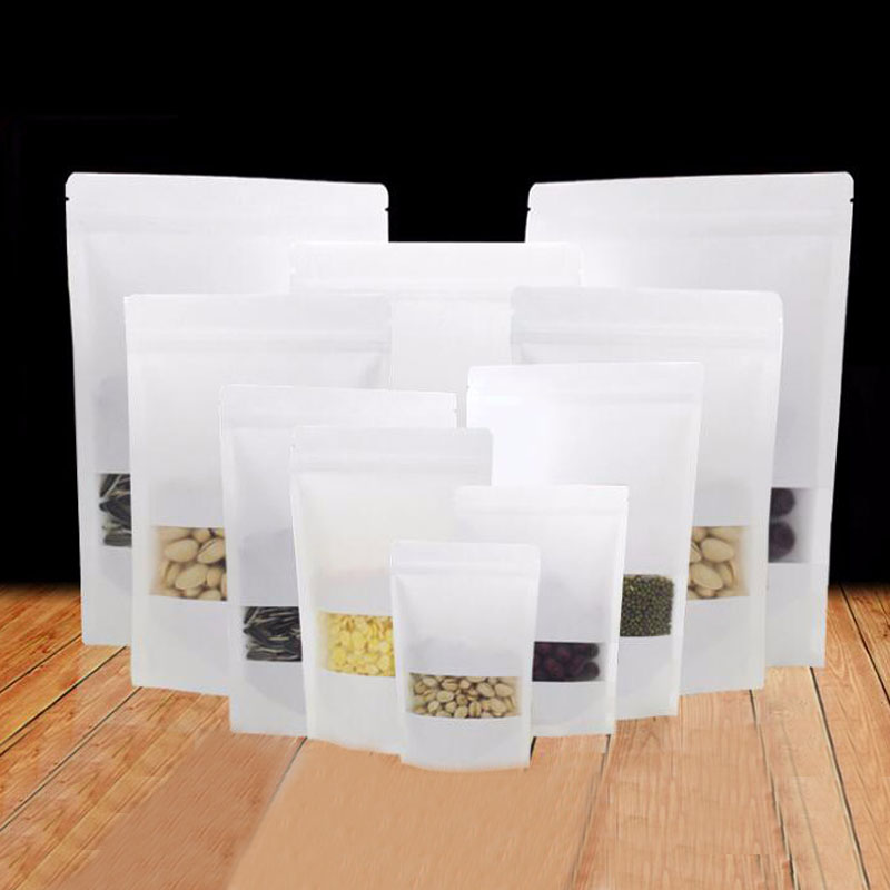 300pcs white kraft paper bags for gifts/candy/tea/food/wedding with window stand up zipper kraft bags crafts Packing bag Display
