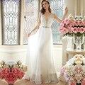 Não é de Noiva Sexy Uma Linha de Vestidos de Casamento Profundo Decote Em V Chiffon Vestido de Noiva 2016 Vestido De Noiva do Casamento Do Vintage