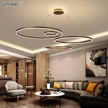 מודרני LED תליון אורות סלון חדר אוכל השעיה Dimmable Luminaire Suspendu מעגלי טבעות קפה Hanglamp Luminaria