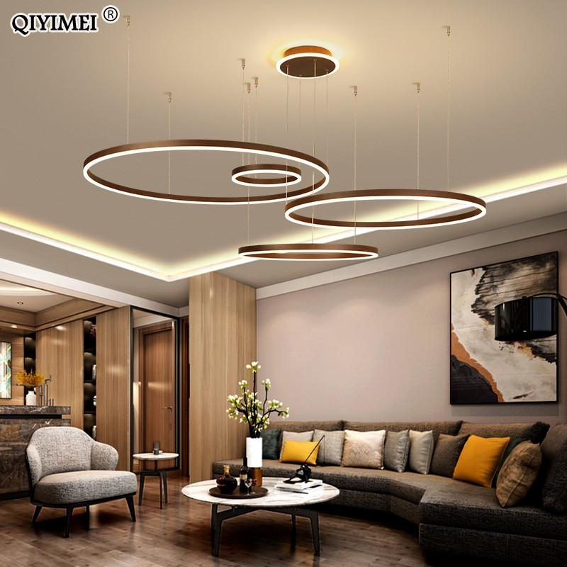 Modern LED Pendant Lights For Living Dining Room Dimmable Suspension Luminaire Suspendu Circular Rings Coffee Hanglamp Luminaria
