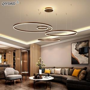 Image 1 - 現代のledペンダントライトリビングダイニングルーム調光対応サスペンション照明器具suspendu円形リングコーヒーhanglamp luminaria