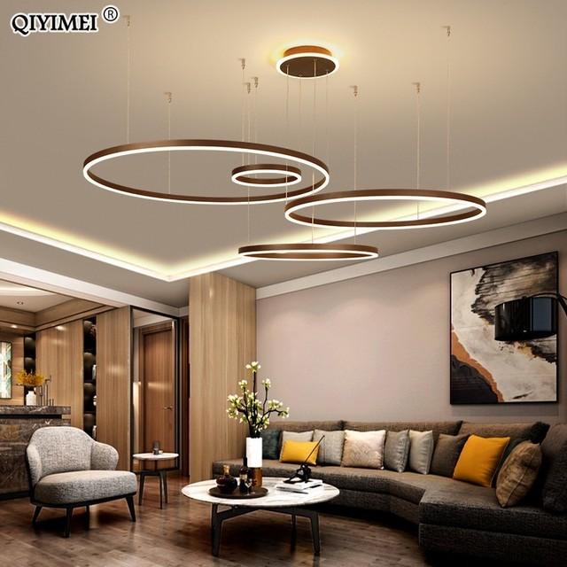 現代のledペンダントライトリビングダイニングルーム調光対応サスペンション照明器具suspendu円形リングコーヒーhanglamp luminaria