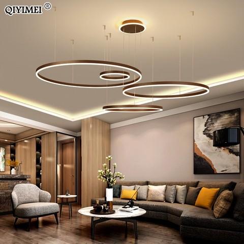 moderno led pingente luzes para sala de jantar luminaria suspensao regulavel suspendu aneis circulares cafe