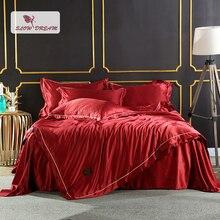 цены на SlowDream Bedding Set 100% Silk Double Queen King Bedspread Duvet Cover Flat Sheet Flat Sheet Red Luxury Decor Home Textiles Bed  в интернет-магазинах
