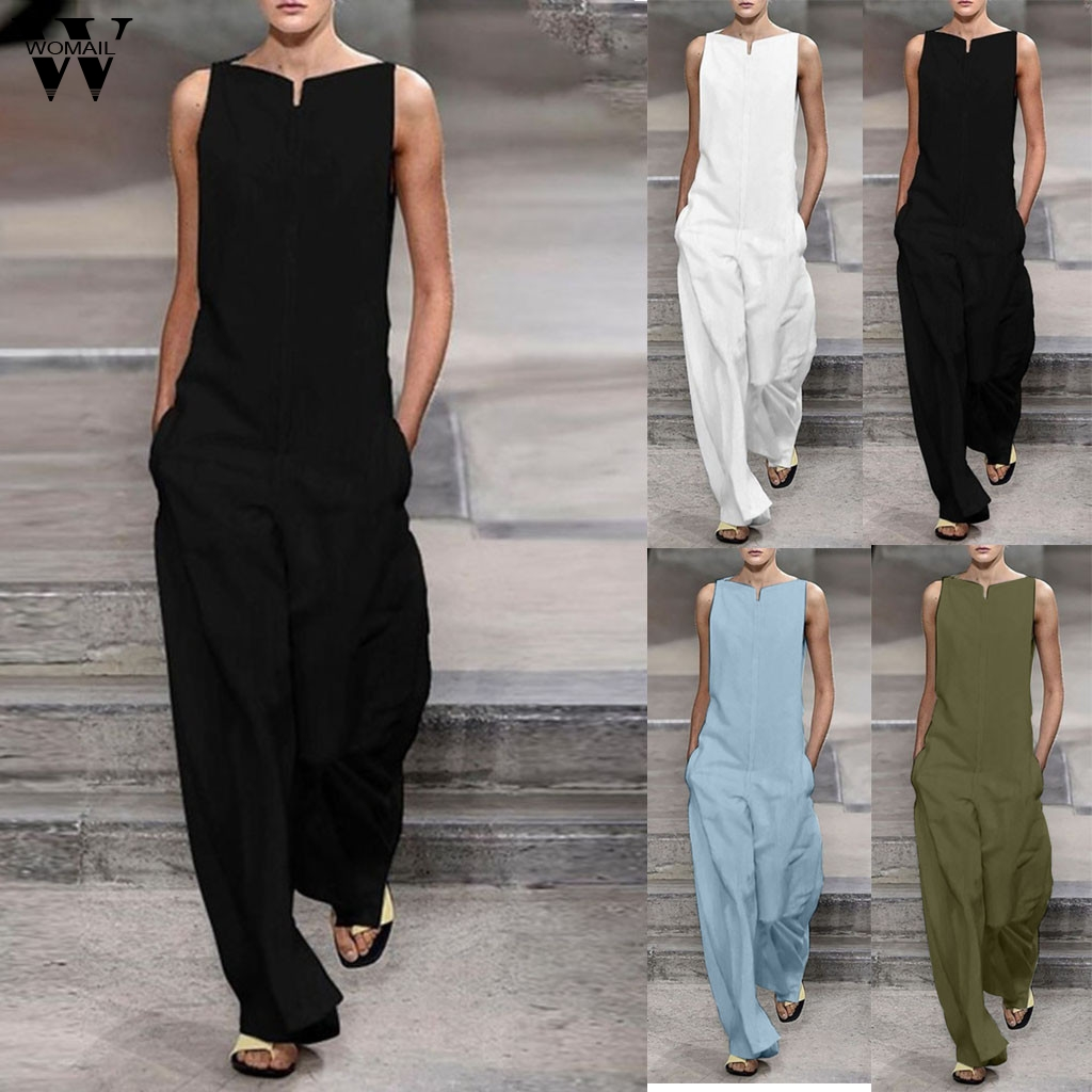 Womail Bodysuit Women Fashion Sleeveless Loose Long Jumpsuit Ladies Romper Holiday Solid Pockets Wide Leg Playsuit 2019 J613