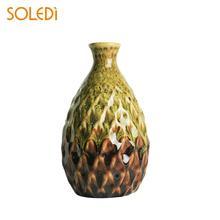 Vase Flower Pot Ornament Office Pineapple Shape Concave Delicate Handmade Vase Home Deco Room Decoration