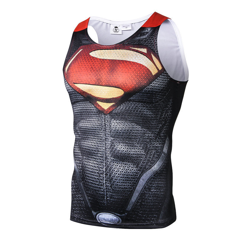 Brand New Marvel Hero Superman Superhero Running Vests Red Steel Body Creative 3D Printing Sleeveless T-shirt Men Vest   Tank     Tops