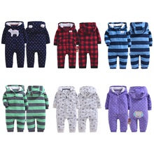 hot deal buy 2019 autumn&winter baby boy clothes baby rompers fleece newborn clothing one piece baby girl clothes romper hooded sleepwear