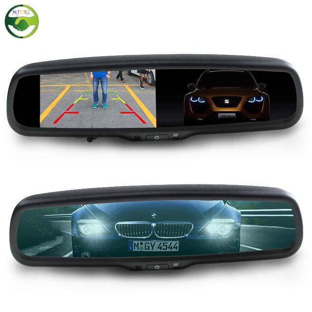 """4.3 """"Espelho Auto Dimming Espelho Retrovisor Monitor com Suporte Original 2CH Entrada De Vídeo Para Monitor de Estacionamento Assistência"""