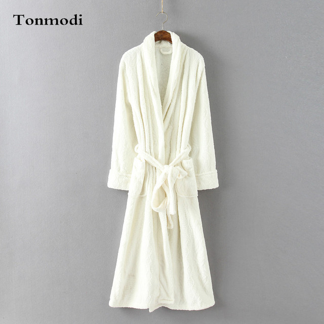 Robes Women solid color brief coral fleece thermal bathrobe Ladies design flannel lounge robe