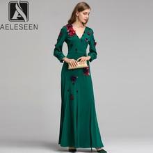 AELESEEN 2019 verano otoño vestidos de alta calidad mujeres lujo diamante apliques Vintage europeo partido ajustado Fit vestido largo