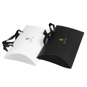 Бумажная коробка подушки для наращивания волос, фирменные металлические наклейки с логотипом на заказ, упаковка для волос OEM