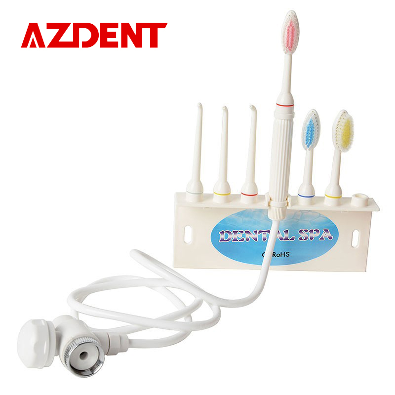 Hot AZDENT Dental Spa Oral Irrigator Faucet Dental Flosser Unit Clean Teeth Water oral Jet Portalbe Family Size With Brush каталог pink lipstick