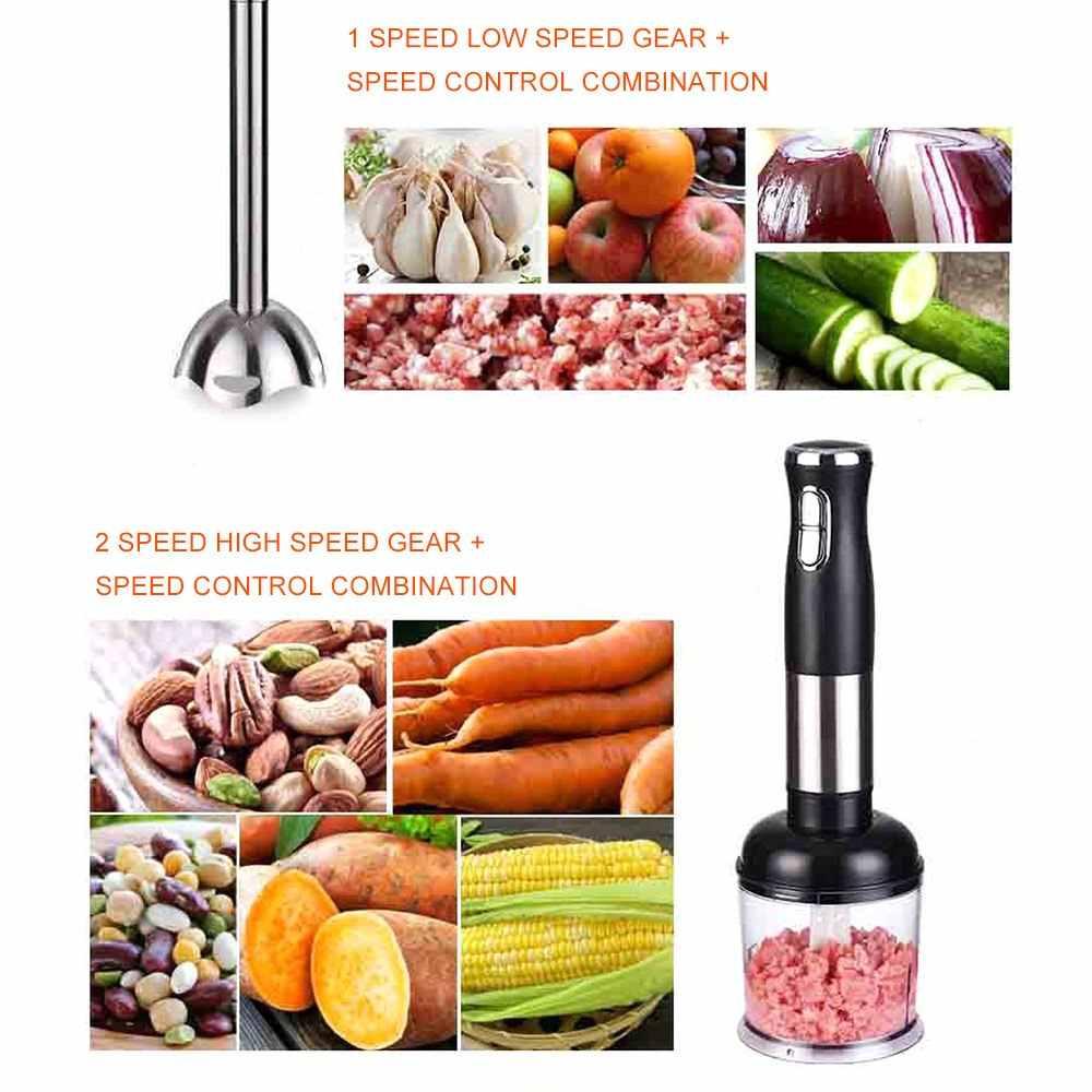 4 em 1 Mão Liquidificador de imersão para Cozinha Processador de Alimentos Liquidificador Portátil vara com Chopper Juicer Mixer Whisk Elétrica UE plugue