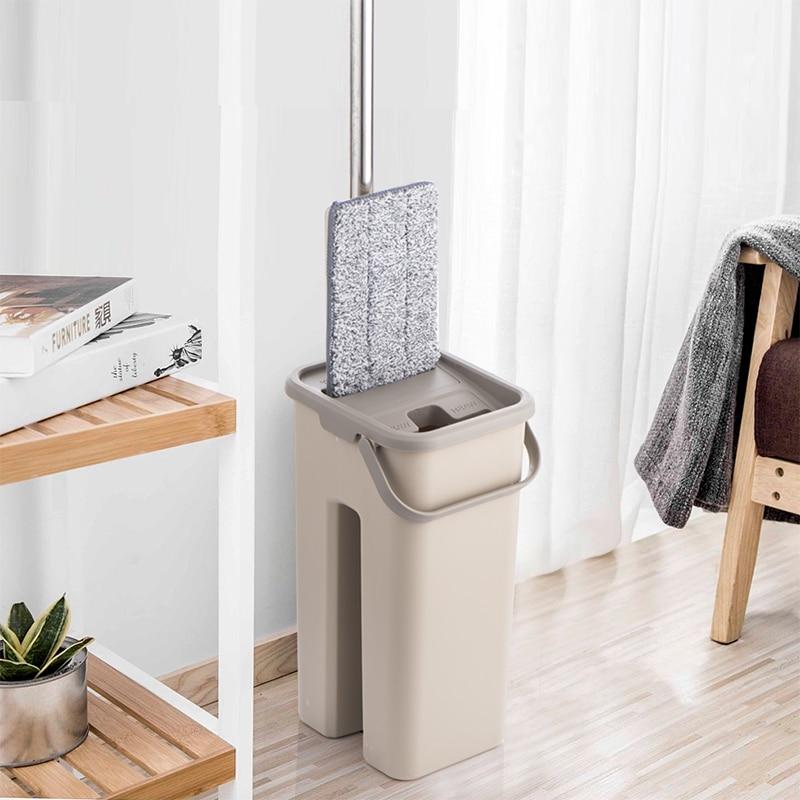 Espremer plana Preguiçoso Girando balde Mop com Almofadas de microfibra lavar a Mão livre Magia Auto-extrusão Para A cozinha De Limpeza De Pavimentos