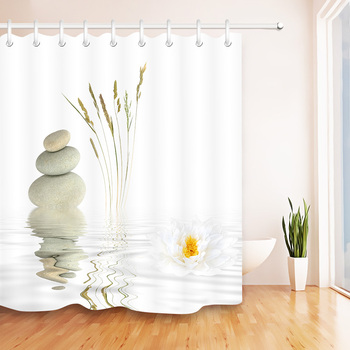 Stones And White Lotus in Water Shower Curtain Zen Spa White Bathroom Waterproof Bath Curtain Polyester Fabric for Bathtub Decor hippo shadow water resistant fabric shower curtain