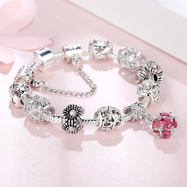 European Style Charm Bracelet for Women Luxury Crystal Bead Snake Chain Bracelet with Safety Chain Silver Color Jewelry