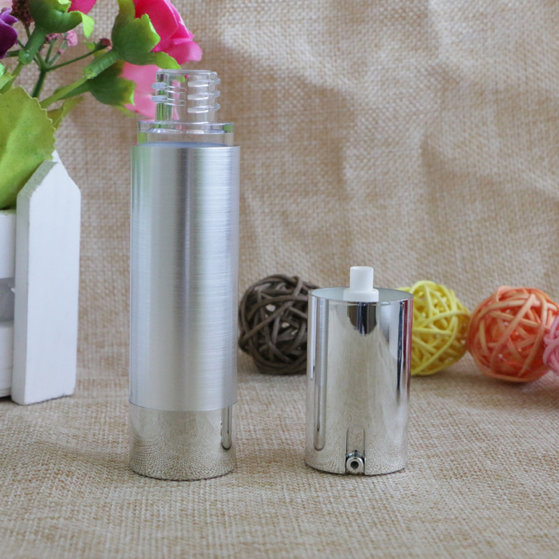 Купить с кэшбэком 15ml 20ml 30ml Shiny Silver Airless Refillable Bottles Thin Healthy Travel Empty Cosmetic Containers for Liquid Makeup 10pcs/lot